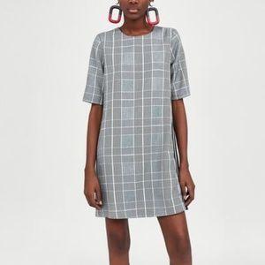 Zara Checked Dress Side Stripe Detail Dress